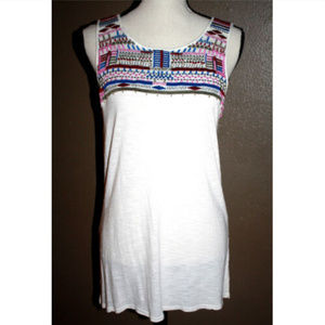 Sanctuary Juniors M Tunic Ivory Pink Embroidered